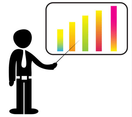 A man standing with a board showing a graph on it. Vector illustration Stock Vector - 24804923