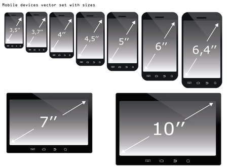 display size: Mobile devices with their screen sizes illustration set isolated over white  Illustration