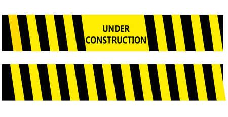 건설 검정색과 노란색 경고 테이프에서