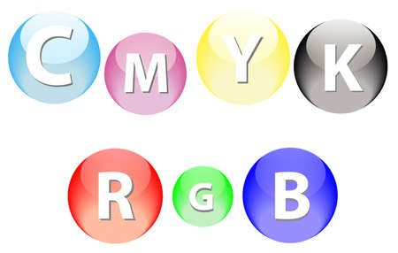 RGB and SMYK vector glossy spheres isolated over white background Vector