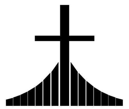 missionary: Black christian cross shape silhouette vector illustration Illustration