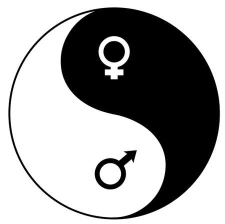 Yin-Yan (YIN-YANG) symbol combined with feminine and masculine symbols of mars and venus vector illustration isolated over white background Vector