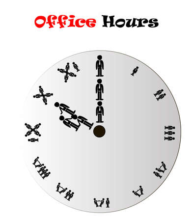 Office hours clock conceptual vector illustration isolated over white background Vector