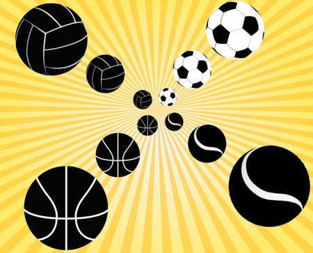 Sport balls silhouettes perspective illustration Vector