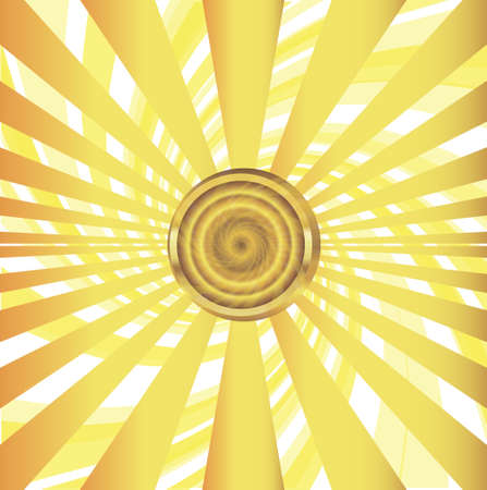 Abstract golden sun with yellow sunrays vector illustration