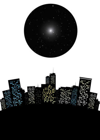 surrealistic: Surrealistic cityscape with dark moon like sky with stars or a black hole conceptual vector illustration