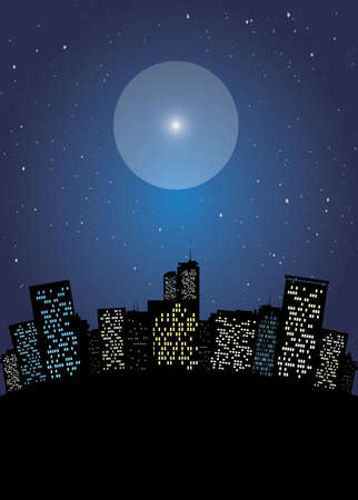 surrealistic: Night cityscape with starful sky vector illustration