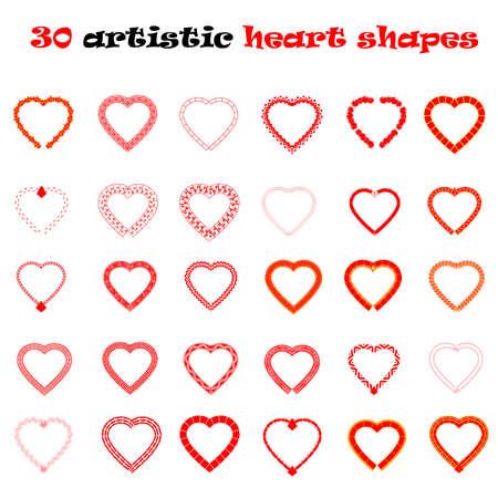 decoracion boda: 30 formas de coraz�n ilustraci�n vectorial conjunto aislado sobre fondo blanco. El d�a y la decoraci�n de la boda de San Valent�n