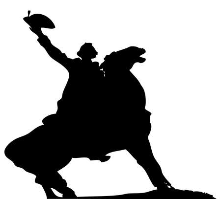 general: Old-times general riding his battle horse - monument vector silhouette
