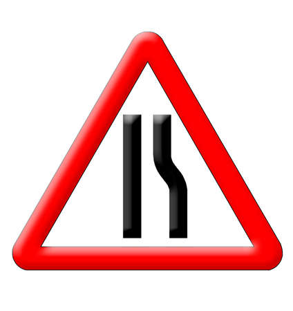 narrows: Road narrows traffic sign isolated over white background Stock Photo