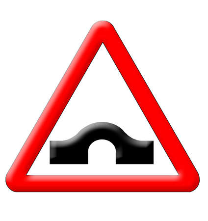 humps: Hump bridge traffic sign isolated over white background
