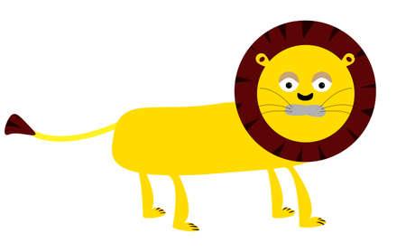 rey caricatura: Dibujo vectorial del ni�o de un le�n caminando amarilla. Divertidos dibujos animados