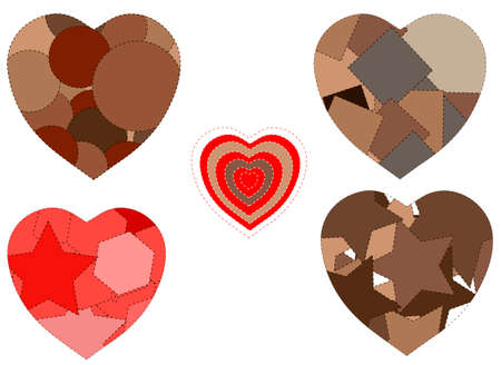 patched: Patched hearts isolated over white background vector illustration Illustration