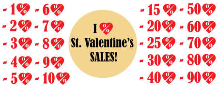per cent: Valentines Day Sales vector heart shaped icons, indicating discounts. Isolated over white background