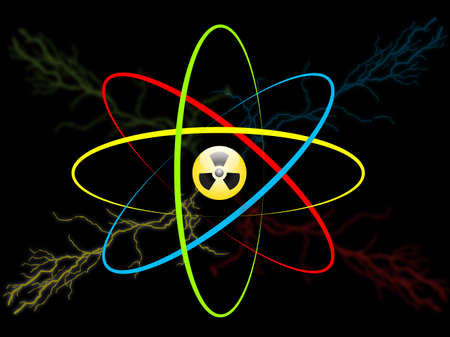 boost: Atom symbol. Vector atom icon with a radiation sign, lightning and energy boost isolated over a black background. High voltage concept