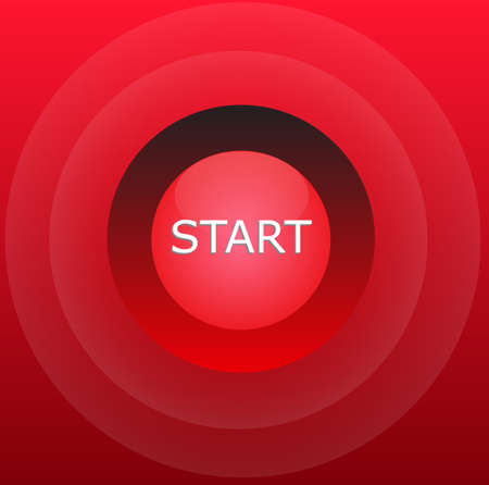 start button: Red glossy start button over gradient red background