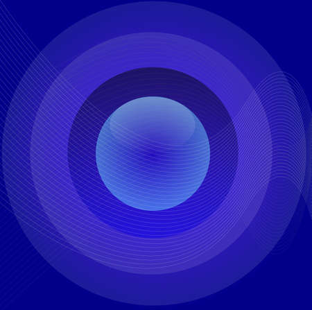 Blue glossy button over gradient abstract background and white fishnet Vector