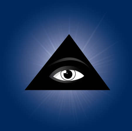 Masonic symbol - All seeing eye of providence in a pyramid, silhouette vector illustration