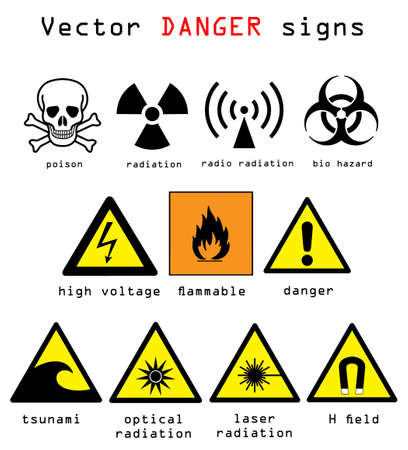 Warning and danger signs vector illustration isolated over white background Illustration