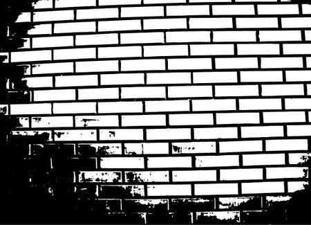 gloomy: Brick wall grunge vector illustration. Black and white texture Illustration