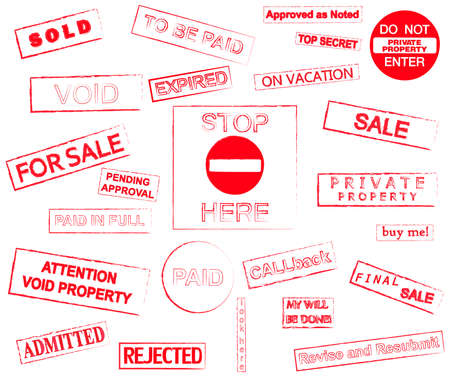 certify: Red stamps marks grunge style vector illustration isolated over white background
