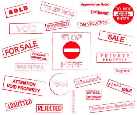 validez: Sellos rojos marcan ilustración vectorial de estilo grunge aislado sobre fondo blanco