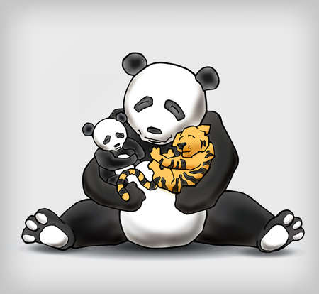 adoption: Panda sitting with her child and a little tiger cub. Adoption legitimization conceptual vector illustration Illustration