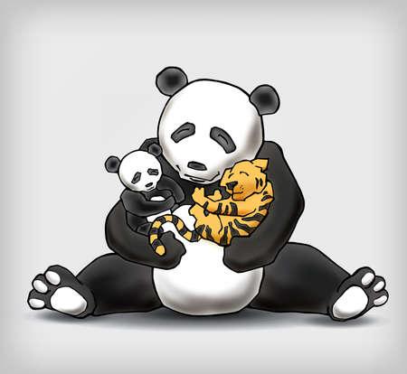 child sitting: Panda sitting with her child and a little tiger cub. Adoption legitimization conceptual vector illustration Illustration