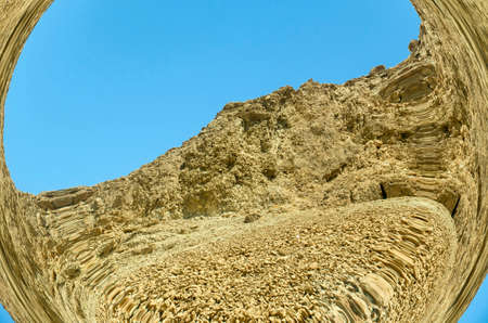 judean hills: Judean desert mountains and hills photo using fisheye lens Stock Photo