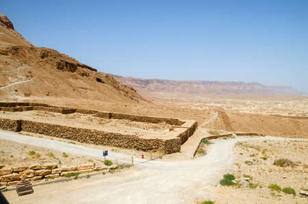israel people: Judean desert where Israel people walked during their exodus from Egypt at the Old Testament Bible times. Stones and mountains Stock Photo