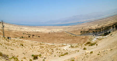 judaean desert: Panorama picture of Israel Judean desert and Dead Sea taken with wide angle lens