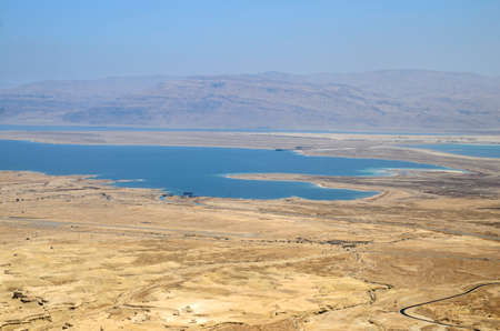judean hills: Picturesque aerial view of Judead desert, mountains and Dead sea