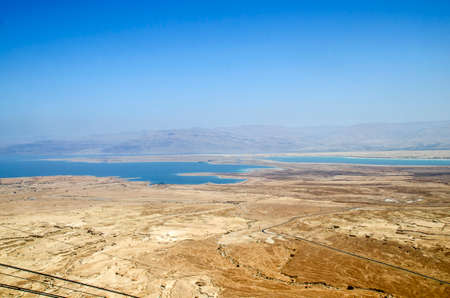 judaean desert: Dead Sea and mountains of Judean desert in Israel, amazing landscape, aerial view