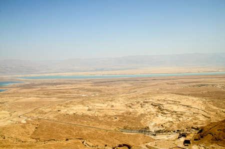 judean desert: Picturesque landscape of Judean desert and Dead Sea in Israel Stock Photo