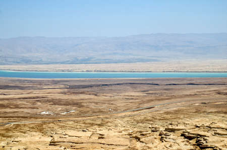 judaean desert: Dead sea and desert mountains in Israel, travel to the Middle East landmarks Stock Photo