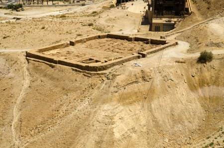 judean hills: Ruins of Roman fortifications walls near Masada fortress in Israel, Middle East landmarks Stock Photo