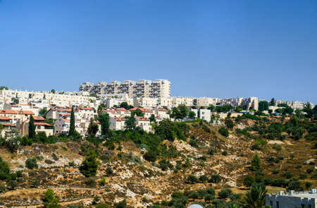 tora: Gehenna Hinnom Valley and residential buildings in Old part of Jerusalem. Hell mouth or hellfire place in Bible and Tora