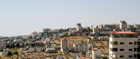 Panoramic view of Bethlehem in Palestine, residential buildings of a modern city