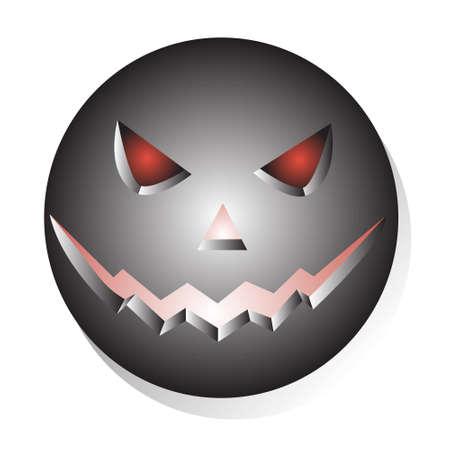 evil face: Metallic Halloween evil face. Icon isolated over white background vector illustration Illustration