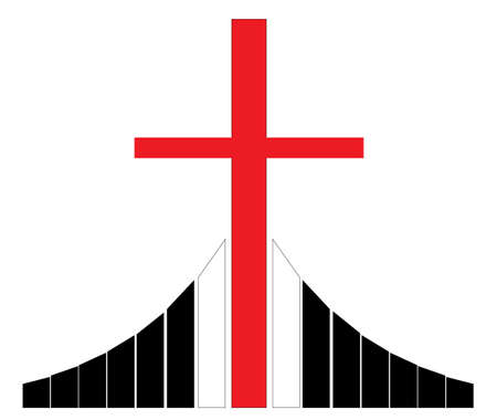 believer: Red christian cross silhouette standing on the Golgotha vector illustration, symbol of a Christian church Illustration