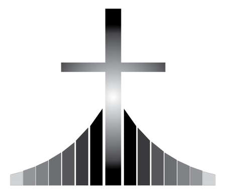 golgotha: Black and white Christian cross silhouette standing on the Golgotha vector illustration, symbol of a Christian church
