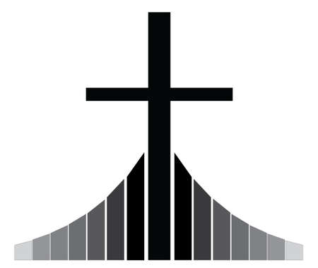 golgotha: Black Christian cross  standing on the Golgotha vector illustration, symbol of a Christian church Illustration
