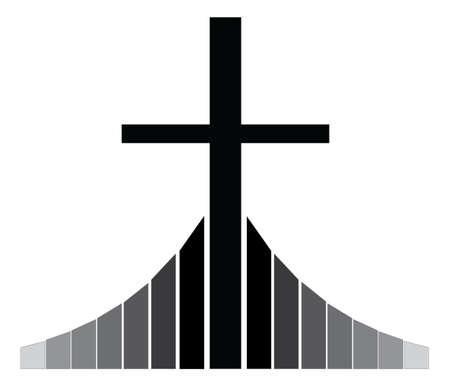 believer: Black Christian cross  standing on the Golgotha vector illustration, symbol of a Christian church Illustration