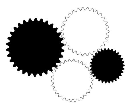 industrial complex: Black and white industrial gears illustration, moving parts of a complex mechanism