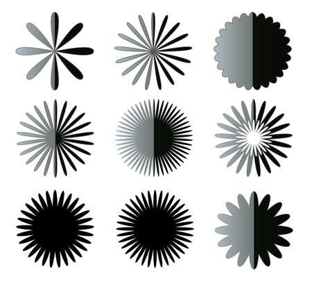 flower petals: Black flower shapes isolated over white background, holiday decoration illustration set