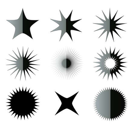 shuriken: Fancy stars shapes isolated over white background illustration set. Black and white stars and suns