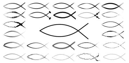 ichthus: Sketchy ichthys signs illustration set, isolated over white background