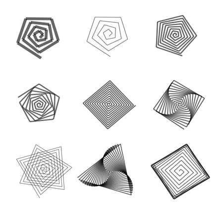 windstorm: Abstract labyrinth shapes isolated over white background illustration set. Twisting outline clipart