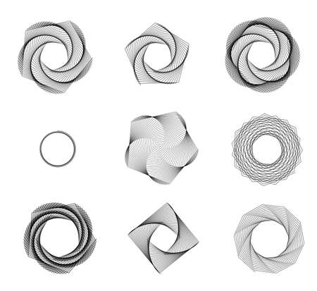 flower line: Abstract sketchy vortex shapes isolated over white background Stock Photo