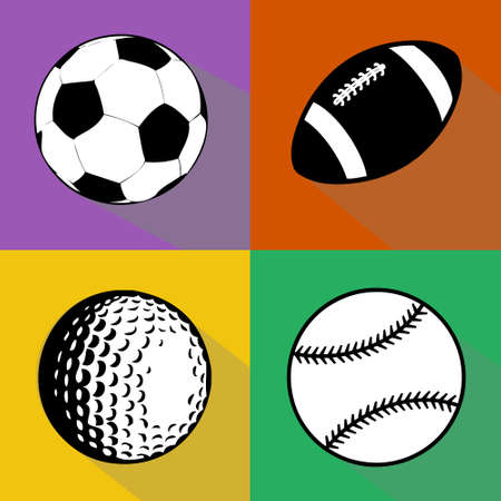 A vector set of black and white sport balls isolated over colored background. Football (soccer), american football, baseball and golf balls vector illustration